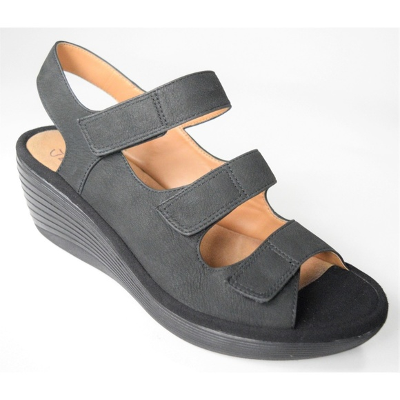 b7d89a0ba274 Clarks Shoes - Clarks Reedly Juno Black Velkro Wedges 8.5 WIDE